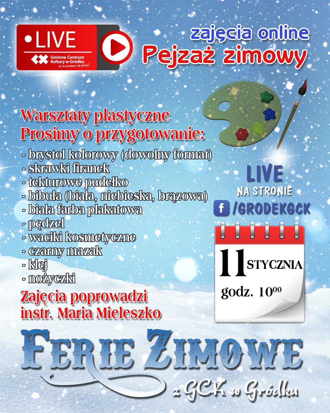 plakat warsztaty pejzaż zimowy